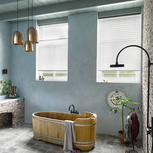 Luxaflex Plisse Shades in the bathroom